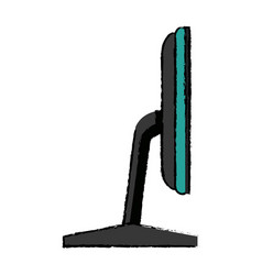 Screen monitor device side view vector