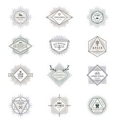 Set of hipster sunburst line signs and emblems vector image vector image