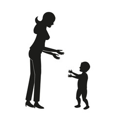 silhouette mother baby walking vector image
