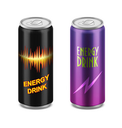 two aluminum cans of energy drink vector image vector image