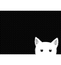 White cat dots background vector