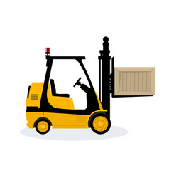 Yellow vehicle forklift picks up a box vector