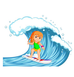 Young woman surfing with big wave vector