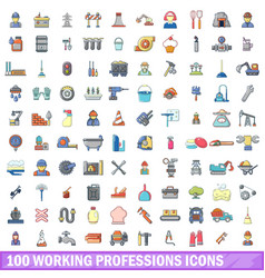 100 working professions icons set cartoon style vector