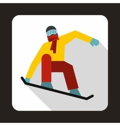 Snowboarder on the snowboard deck icon vector