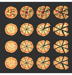 Set with different varieties of pizza cut slices  vector