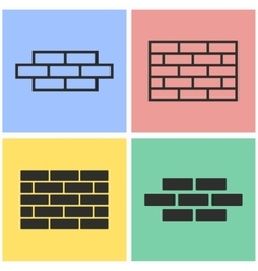 Brick wall icon set vector