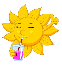 Sun cartoon character drinking vector