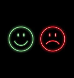 Neon smile emoticons vector