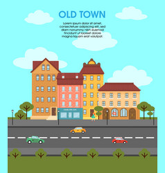Colorful flat urban landscape template vector