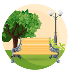 Wooden bench in park with bushes trees and street vector