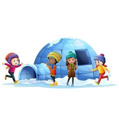 Children playing around igloo vector