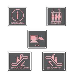 Information signboard elevator signescalators vector