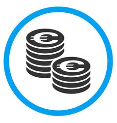 Euro coin columns rounded icon vector