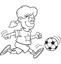 Cartoon Girl Playing Soccer vector image