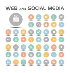 Web and social media icons set on colored buttons vector
