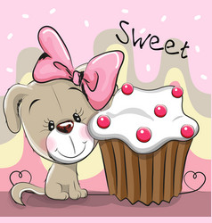 greeting card cute puppy with cake vector image