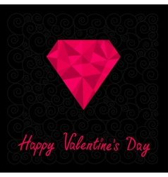 Big pink polygonal diamond happy valentines day vector