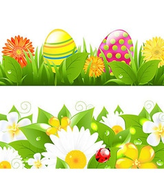 Set of borders with grass and color eggs vector