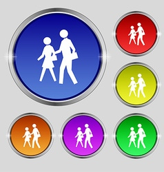 Crosswalk icon sign round symbol on bright vector