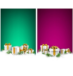 Christmas stripe banners with gift boxes vector