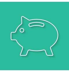 White outline piggy bank with shadow vector