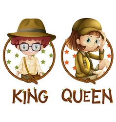 Boy and girl in safari outfit vector image vector image