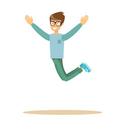 casual man jumping and smiling vector image vector image