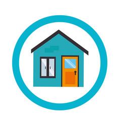 Circular border with facade home vector