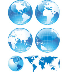 color glossy globes and map vector image vector image