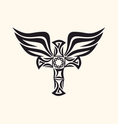 Cross and holy spirit wings vector