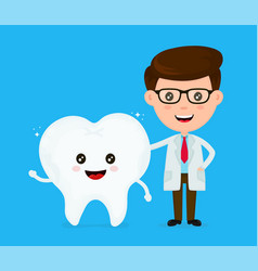 cute funny smiling dentist and healthy vector image vector image