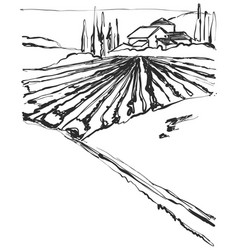 Farm hills drawing landscape sketch field and vector