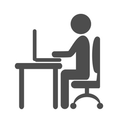Flat computer work pictogram icon isolated on vector image vector image
