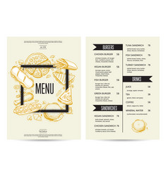 food menu with burgers sandwiches and drinks vector image