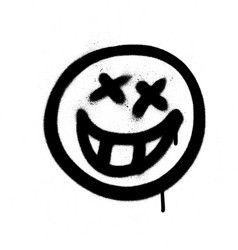 graffiti emoji with a grin sprayed in black vector image