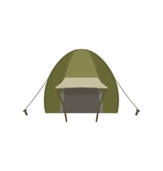 Green tent set with ropes and pegs vector