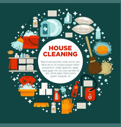 house cleaning service promotional emblem with vector image vector image