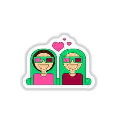 In paper sticker style girls vector