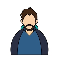 Isolated man with jacket of winter design vector