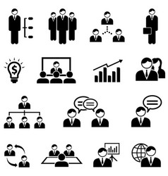 management and business web icon set vector image