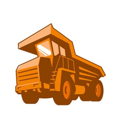Mining truck low angle retro style vector