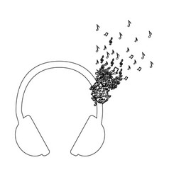 monochrome contour of headphones with music notes vector image