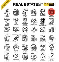 Real estate line icon set vector
