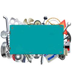 rusty billboard with car parts vector image vector image