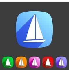 Sail boat yacht icon flat web sign symbol logo vector