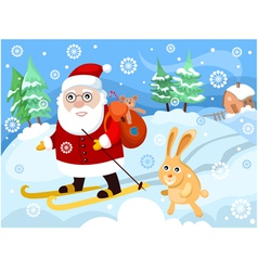 santa on skies vector image vector image