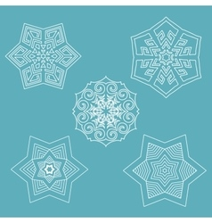Set of flat line snowflakes with shadows on vector image