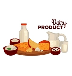 Set of healthy dairy products vector
