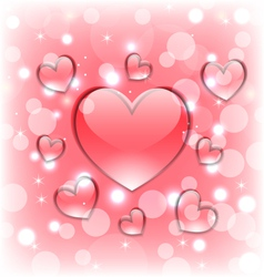 Shimmering background with glassy hearts for vector image vector image